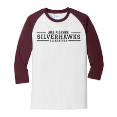 Maroon and White Adult Core Blend 3/4-Sleeve Raglan Tee (7 different design options)