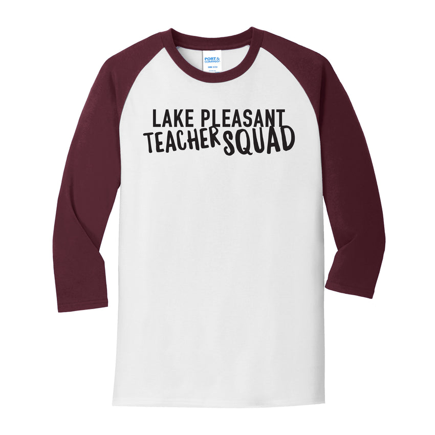 Teacher Maroon and White Adult Core Blend 3/4-Sleeve Raglan Tee (4 different design options)