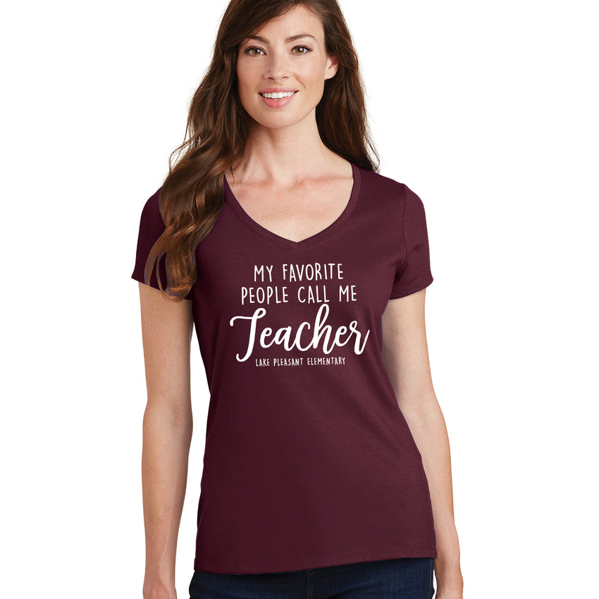 Teacher Maroon Ladies Performance Blend V-Neck Tee (4 different design options)