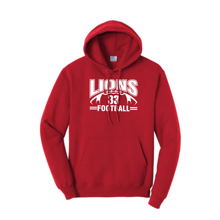 Lions Football Hooded Sweatshirt (front and back)