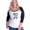 Love Peace Joy Curvy Baseball Tee
