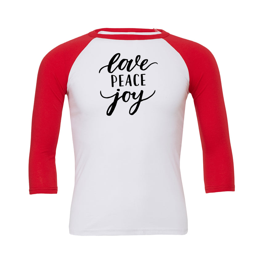 Love Peace Joy Baseball Tee
