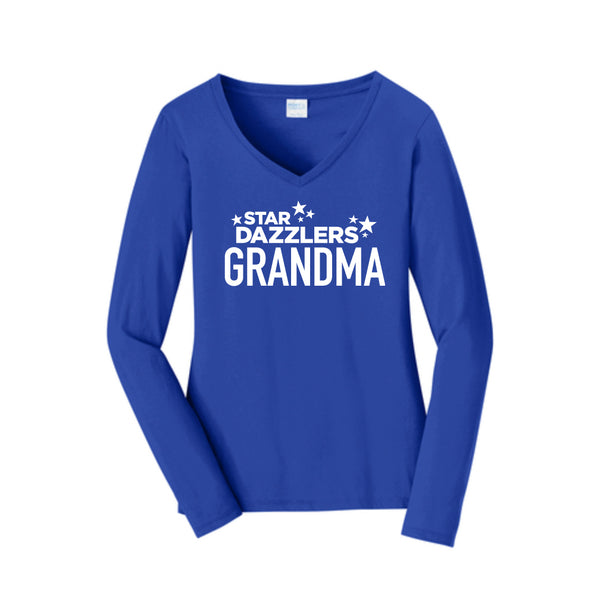 Star Dazzler Grandma Long Sleeve Fan Favorite™ V-Neck Tee