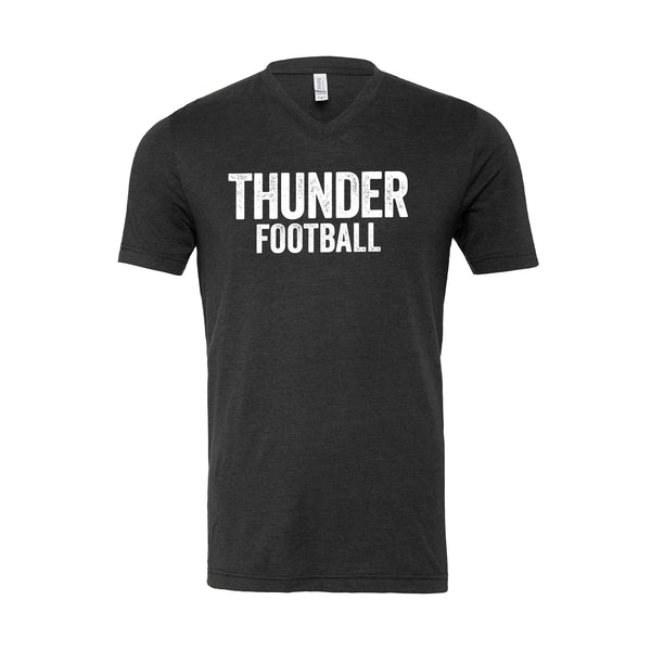 Unisex V Neck Distressed Thunder Football Tee