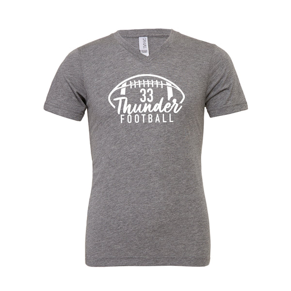 Unisex V- Neck Thunder Football Custom Number Tee