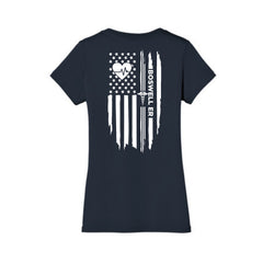 Boswell ER Heartbeat Flag Ladies V Neck Tee