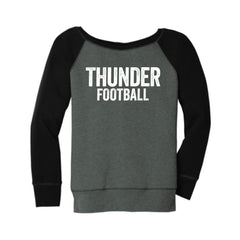 Women's Slouchy Wide Neck Distressed Thunder Sweatshirt