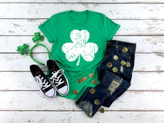 Distressed 4 Leaf Clover Tee
