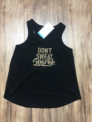 Girls don't sweat sparkle racerback tank