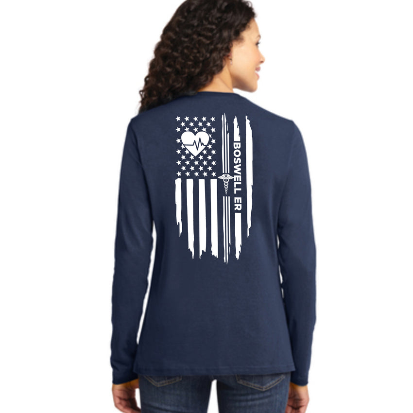Boswell ER Heartbeat Flag Ladies Long Sleeve Tee