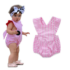 Pink and White Striped Ruffle Romper