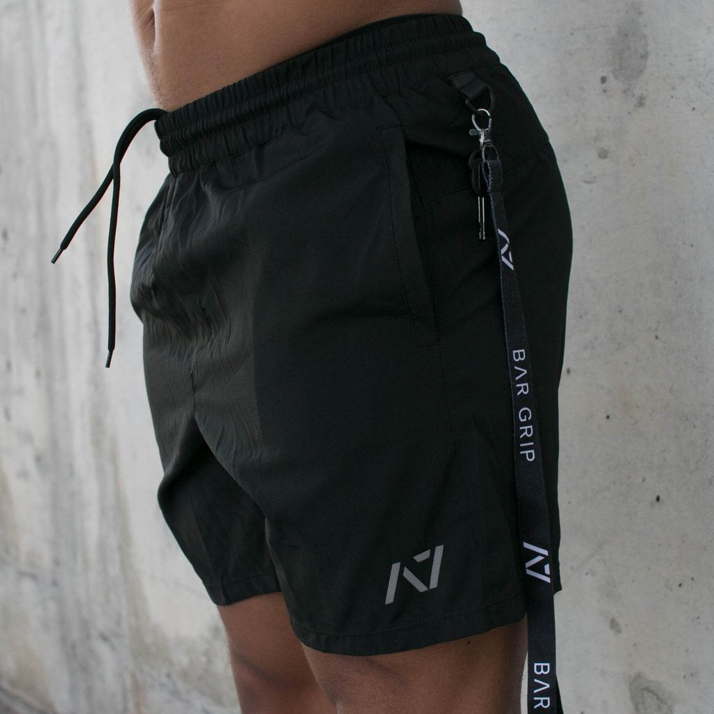 A7 Center-Stretch Black Squat Shorts