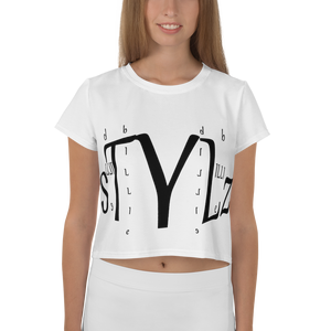 All-Over BILLIE STYLZ Print Crop Tee