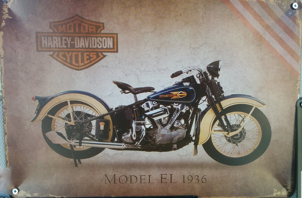 HARLEY Motorcycle vintage tin bar sign (EL 1936)