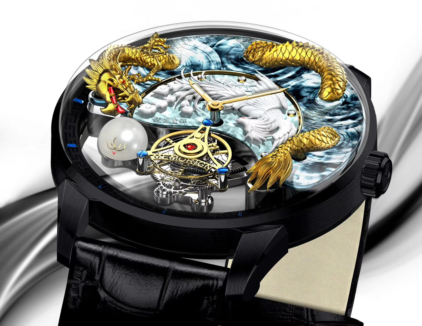 Memorigin Flying Tourbillon Watch Harmony Dragons and Phoenix Flat Drawing