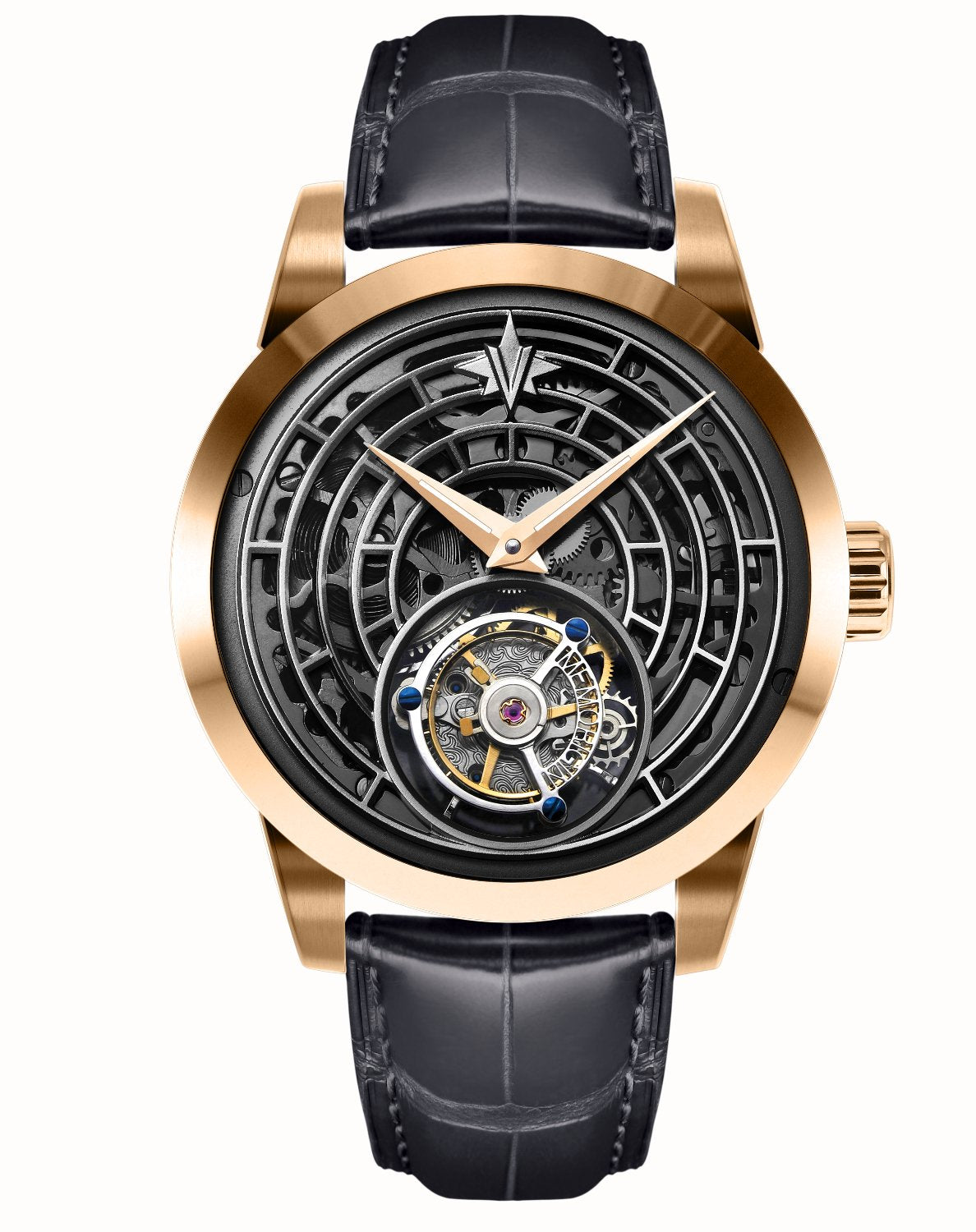 Memorigin Watch Tourbillon Windows of Life Series Rose Black Bracelet
