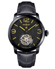 Memorigin Watch Tourbillon Military Series Black Leather Strap