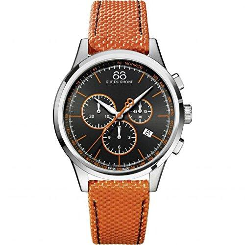 88 Rue du Rhone 43 mm Quartz Men chronograph Watch orange bracelet