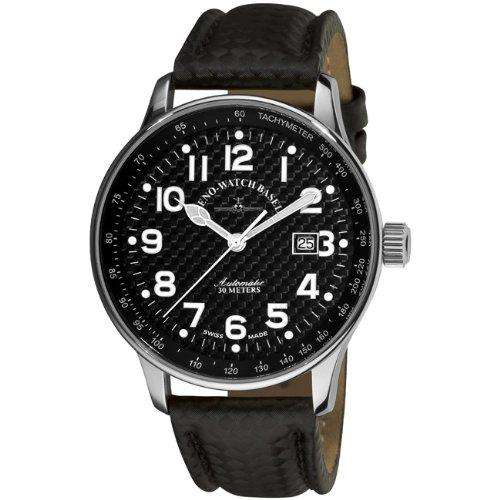 Zeno Men's P554-S1 Pilot Black Carbon Fiber Dial Watch