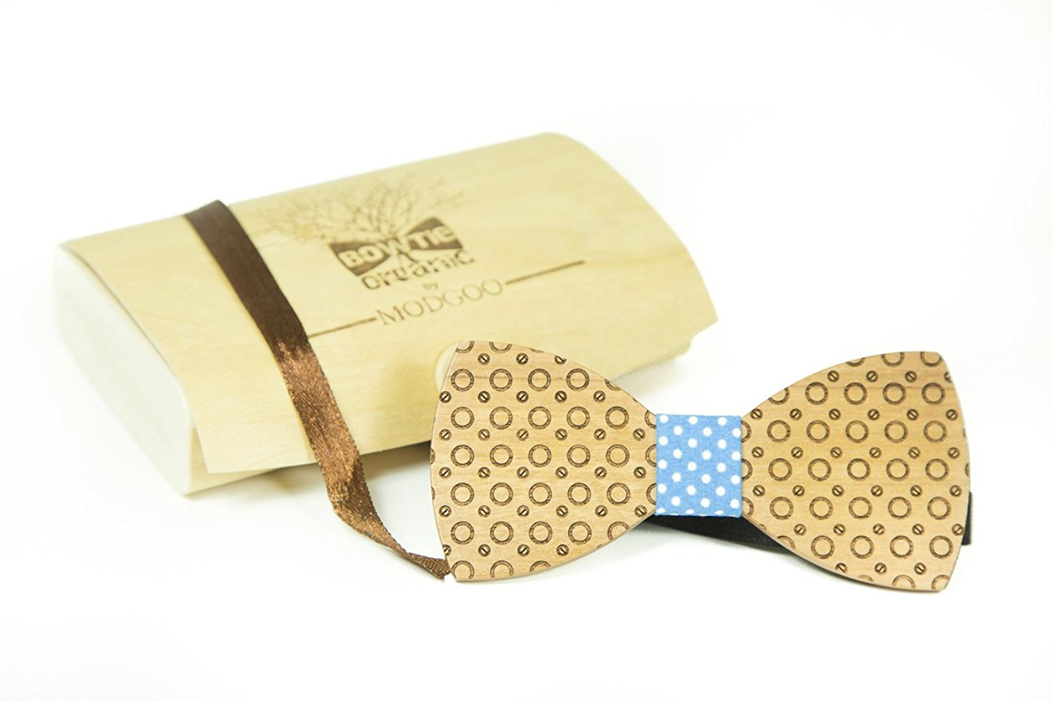Modgoo Organic Wood Bow Tie Dot Blue