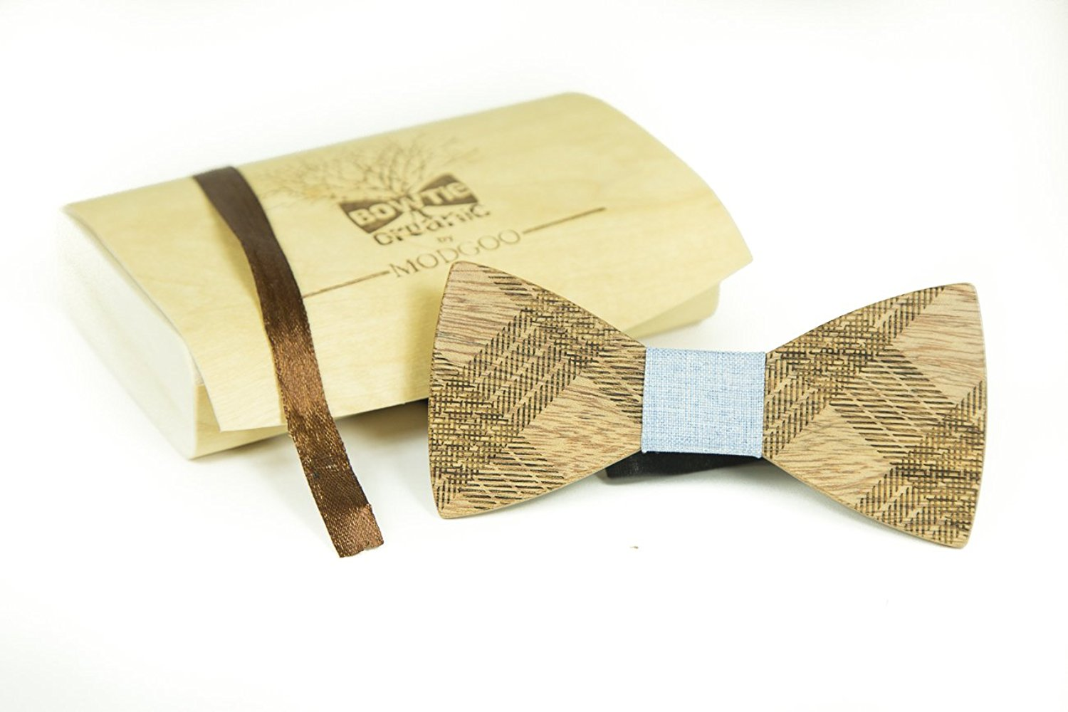 Modgoo Organic Wood Bow Tie Light Blue Rail