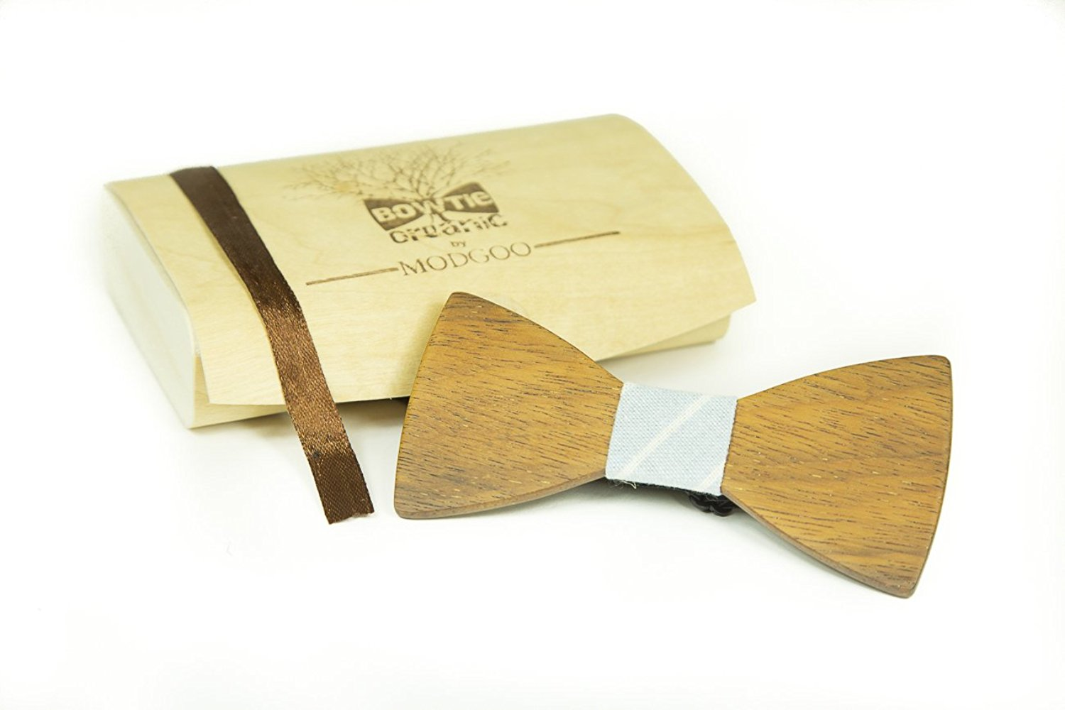 Modgoo Organic Wood Bow Tie James Bond Light Blue