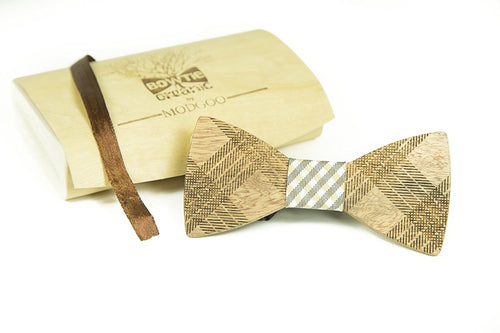 Modgoo Organic Wood Bow Tie Black and Beige Burberry Rail