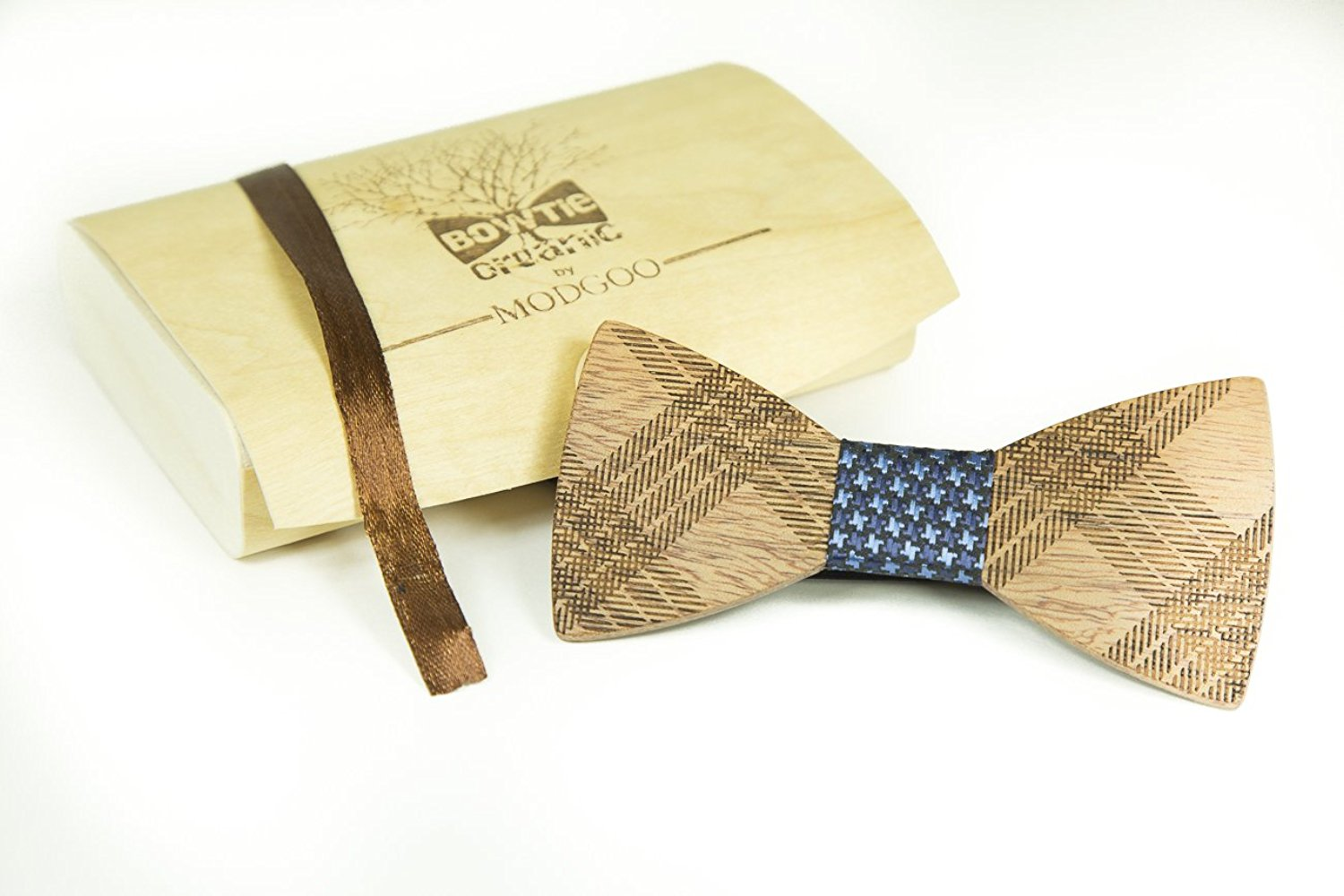 Modgoo Organic Wood Bow Tie Blue Rail