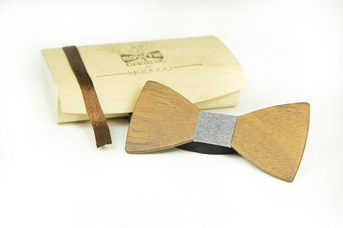 Modgoo Organic Wood Bow Tie James Bond Grey