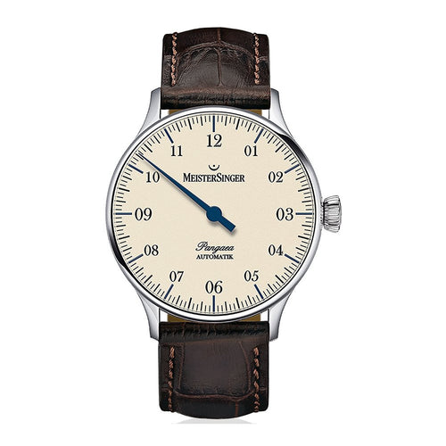 Meistersinger Unisex Single Hand Pangaea 40mm Brown Calfskin Band Steel Case Automatic Analog Watch PM903