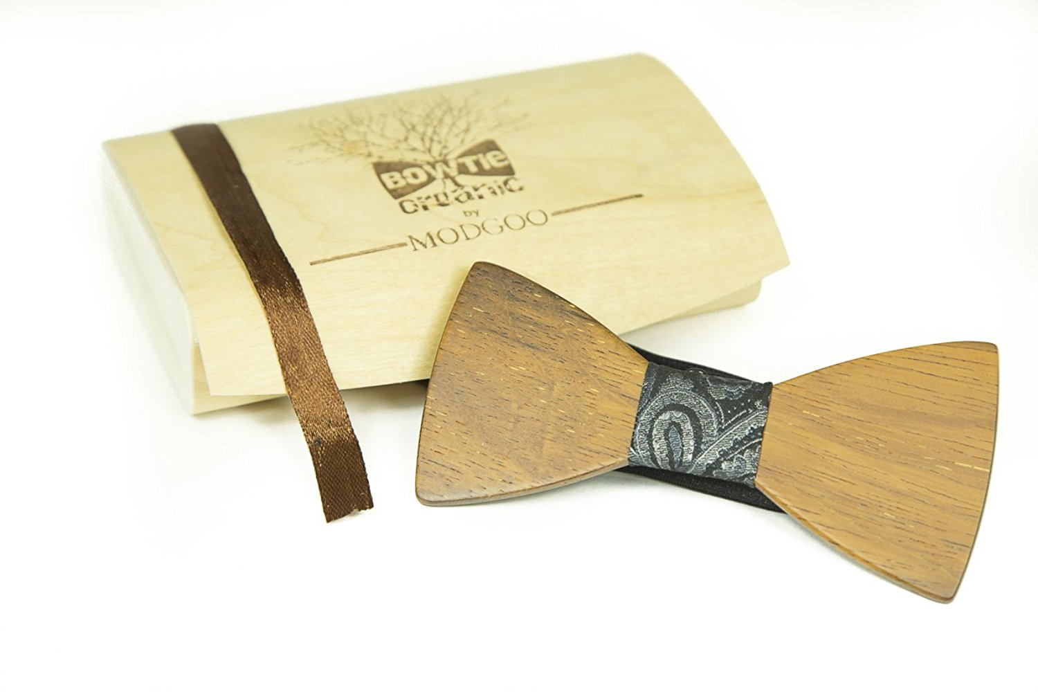 Modgoo Organic Wood Bow Tie James Bond Milky Way