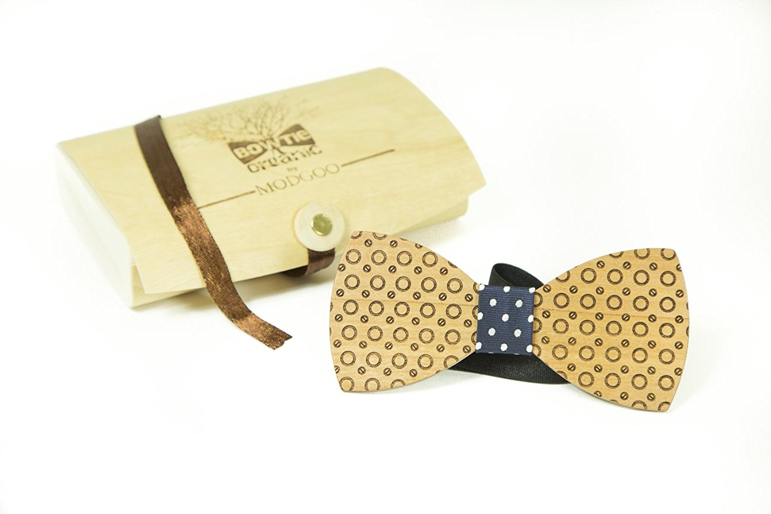 Modgoo Organic Wood Bow Tie Dot Dark Blue