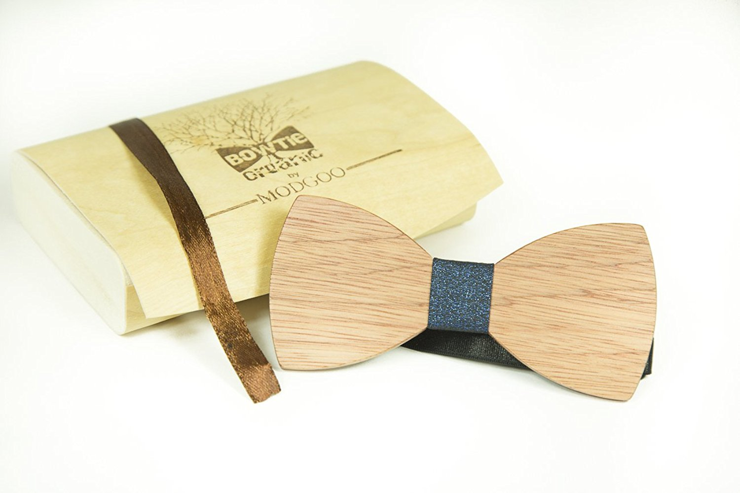 Modgoo Organic Wood Bow Tie Ryan Burberry pattern Stellar Blue