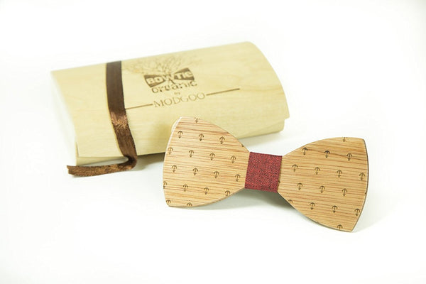 Modgoo Organic Wood Bow Tie Anker Red