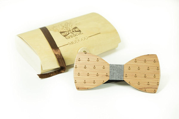 Modgoo Organic Wood Bow Tie Anker Grey