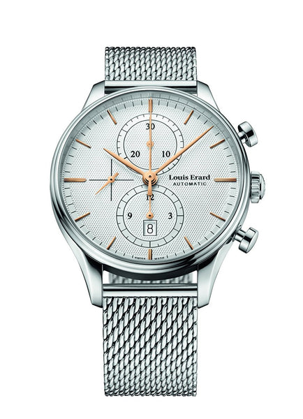 Louis Erard Men's Heritage Collection Silver Dial Chrono 78289AA31M Watch Milanese strap