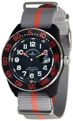 Zeno-Watch Mens Watch - Diver Look H3 Teflon black&orange - 6594Q-a15-Nato-35