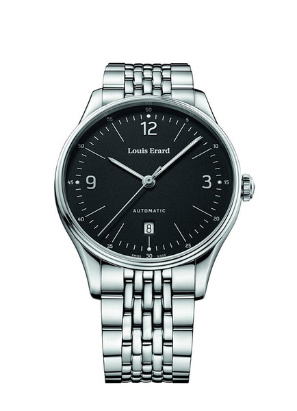 Louis Erard Men's Heritage Black Dial 69287AA02.BMA87 Metallic strap
