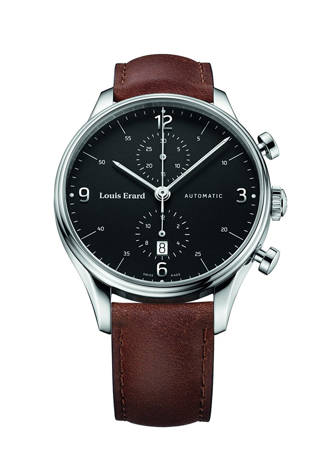 Louis Erard Men's Heritage Chronograph Black Dial 78289AA02 Veal brown
