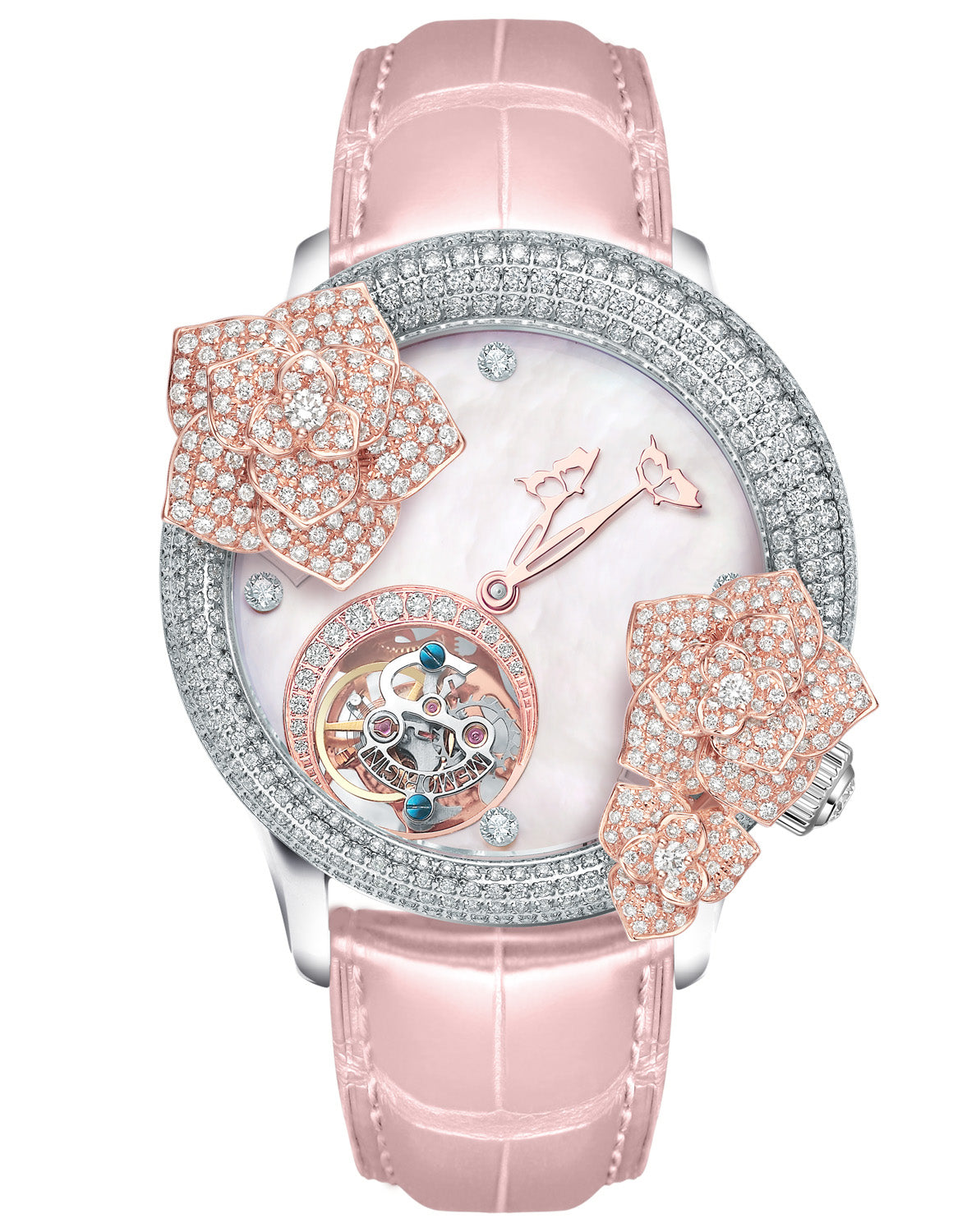 Memorigin Women's Watch Tourbillon Butterfly Rose 7-in-1