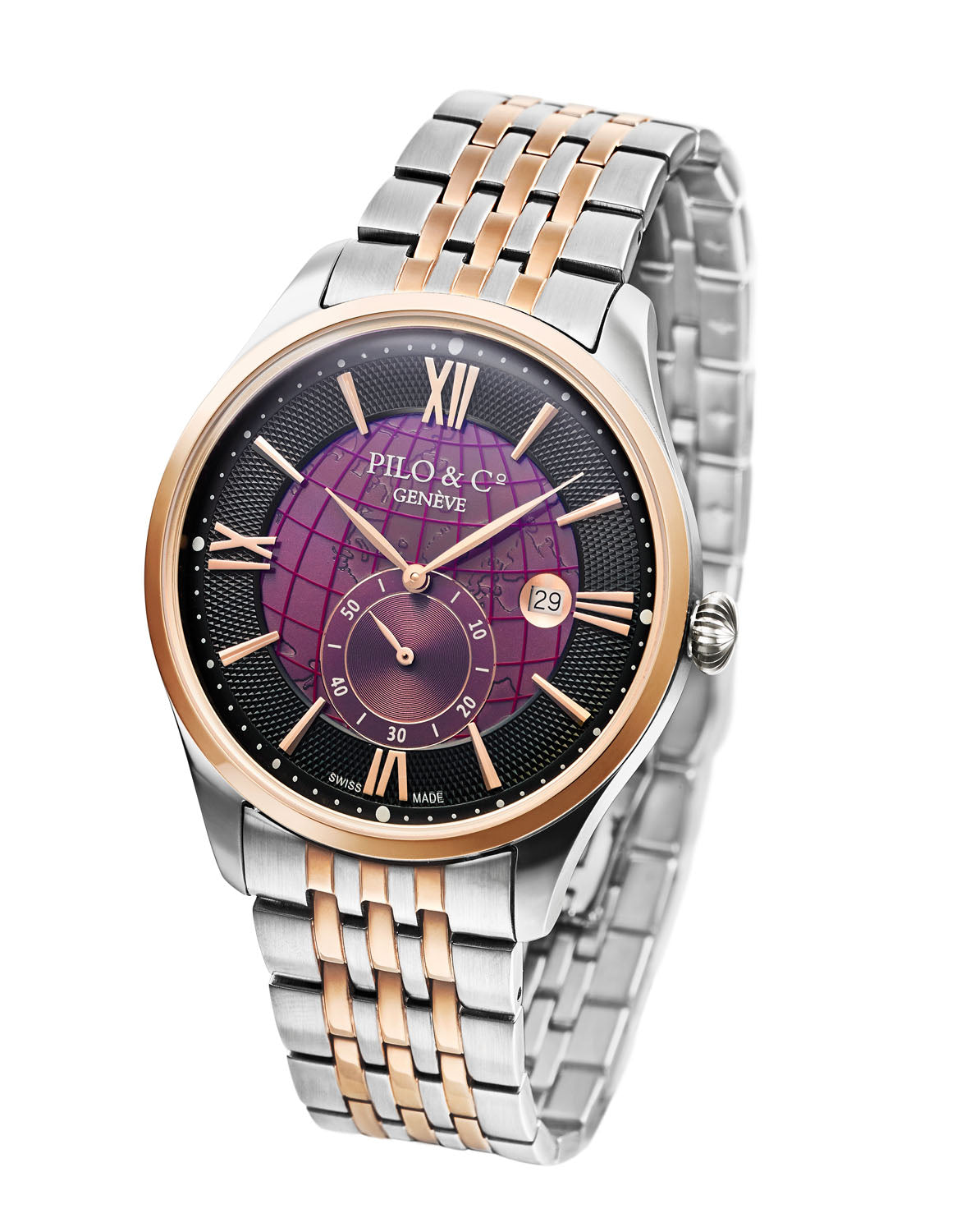 Pilo & Co Geneva Swiss Quartz Montecristo Men's Watch collection Purple Steel Bracelet