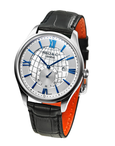 Pilo & Co Geneva Swiss Quartz Montecristo Men's Watch collection Silver