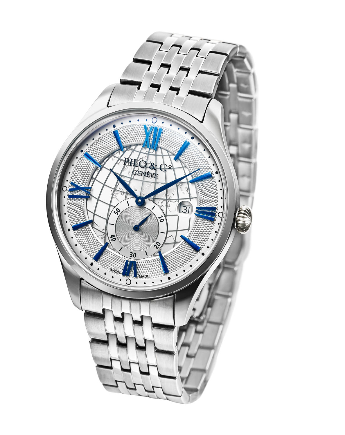 Pilo & Co Geneva Swiss Quartz Montecristo Men's Watch collection Silver Steel Bracelet