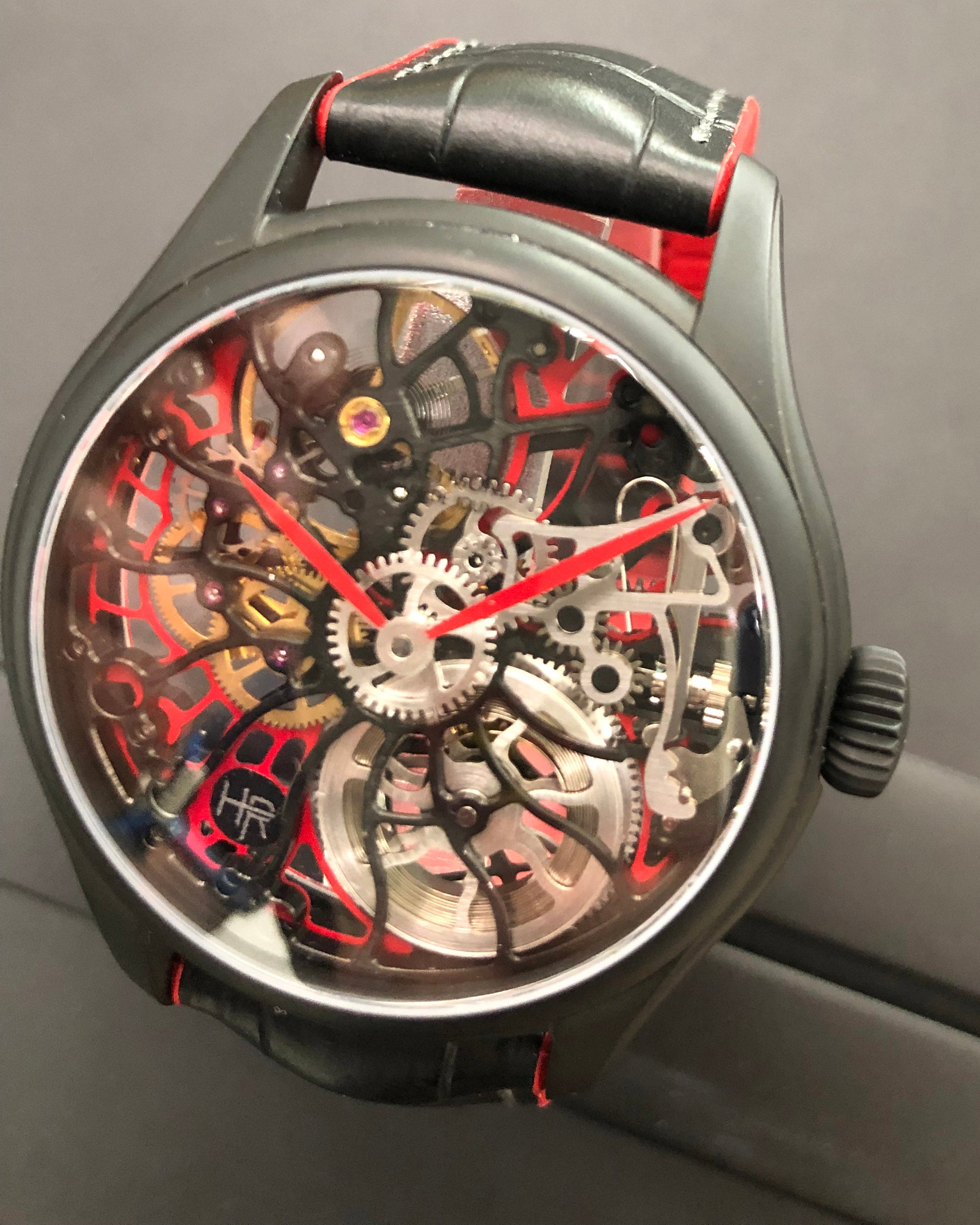 Heli Reymond Swiss Mechanical Skeleton Men's Watch Transparency Line T2021 Modern Red