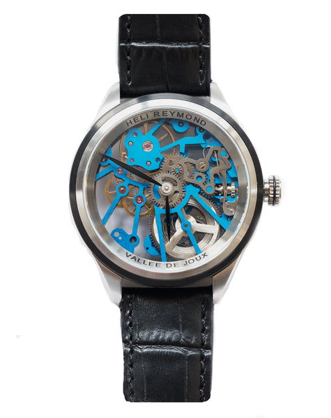 Heli Reymond Blue Skeleton Watch T1012 Stainless Design Front Pic Bitcoin