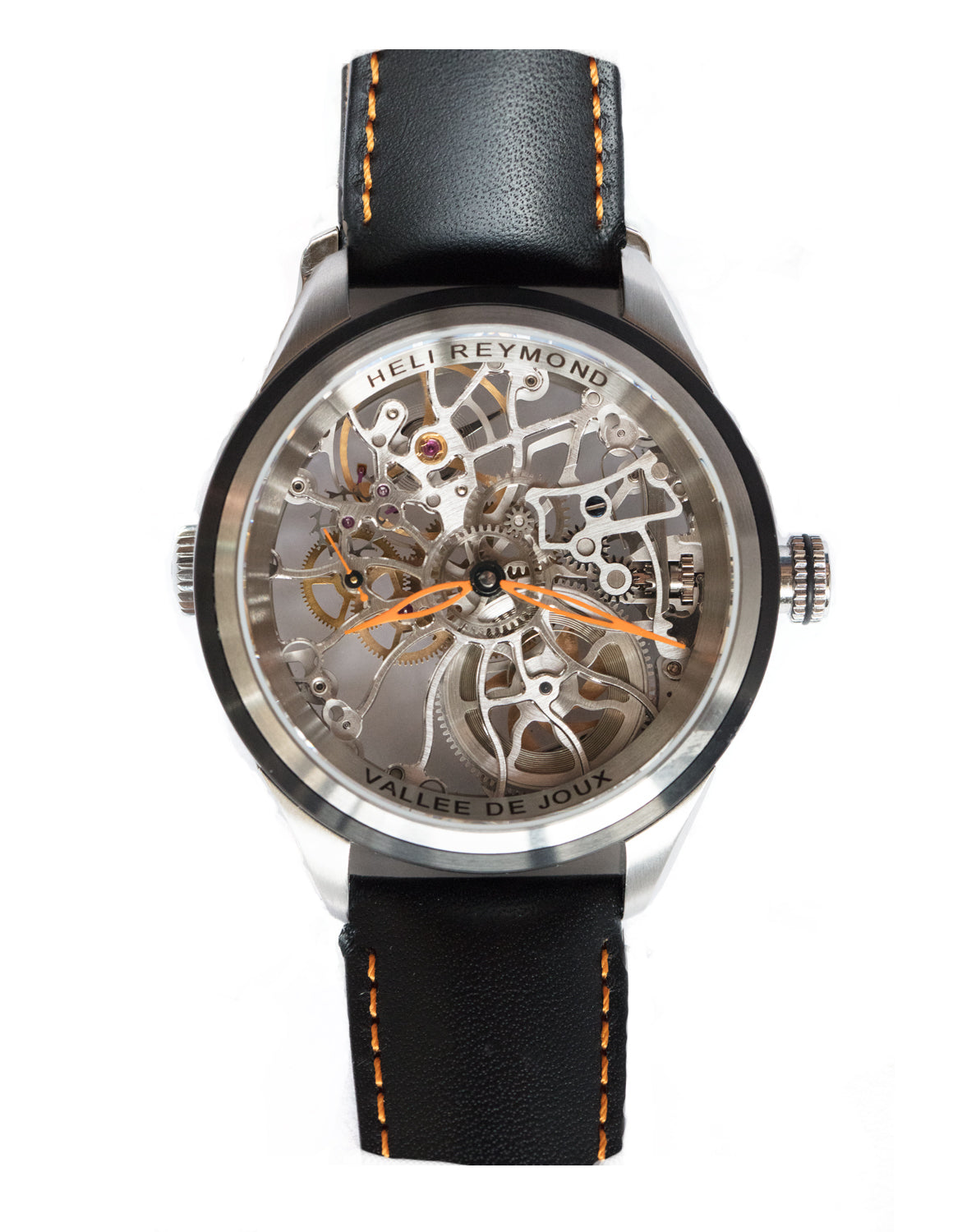 Heli Reymond Orange Hands Skeleton Watch T5010 Stainless Design Front Pic Bitcoin