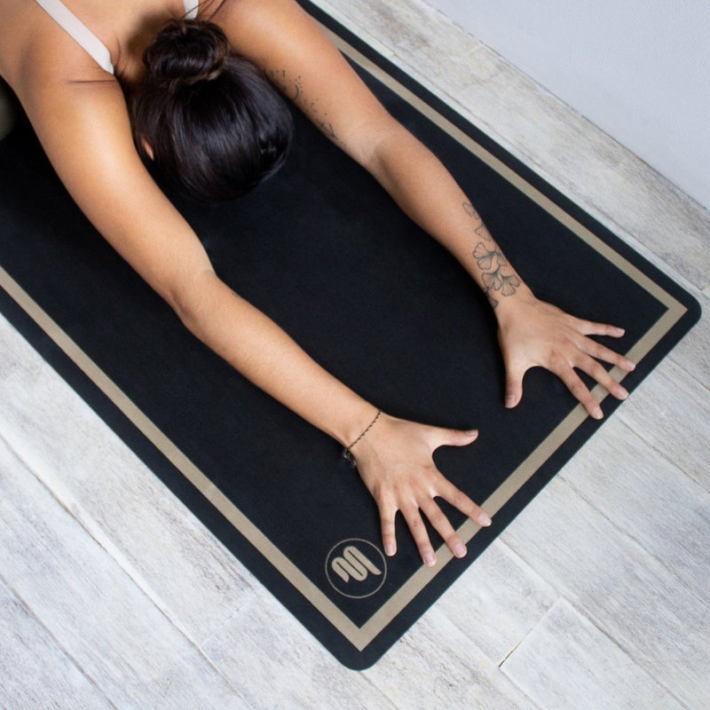 Luxe Eco Yoga Mat - Classic Black with Gold Trim