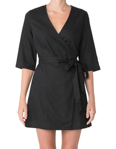 MERCER LINEN WRAP DRESS - BLACK