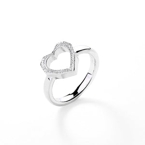 'LOVE CHILD' HEART RING - SILVER