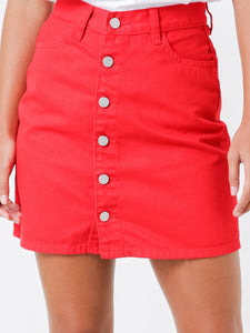 LAMAR DENIM SKIRT - RED